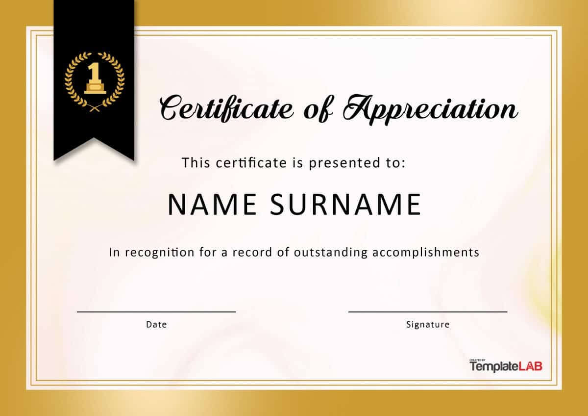 30 Free Certificate Of Appreciation Templates And Letters Within Best Performance Certificate Template