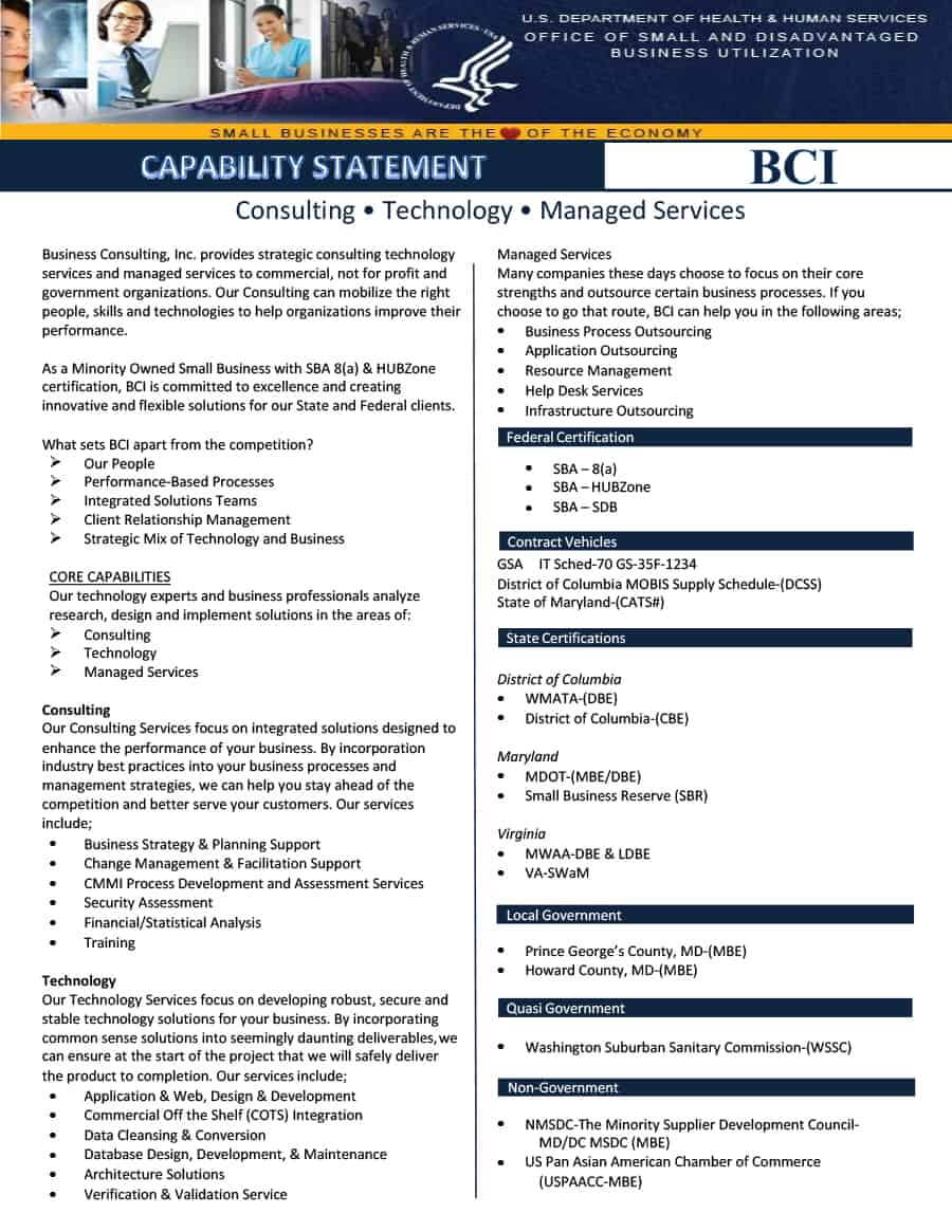 39 Effective Capability Statement Templates (+ Examples) ᐅ Pertaining To Capability Statement Template Word