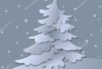 3D Abstract Paper Cut Illustration Of Christmas Tree. Vector within 3D Christmas Tree Card Template