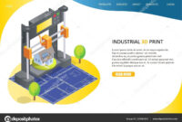 3D Printing Process Landing Page Website Vector Template in 3D Printer Templates