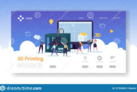 3D Printing Technology Landing Page. 3D Printer Equipment with 3D Printer Templates