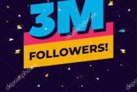 3M Followers, One Million Followers Social Media Post with 3M Label Template