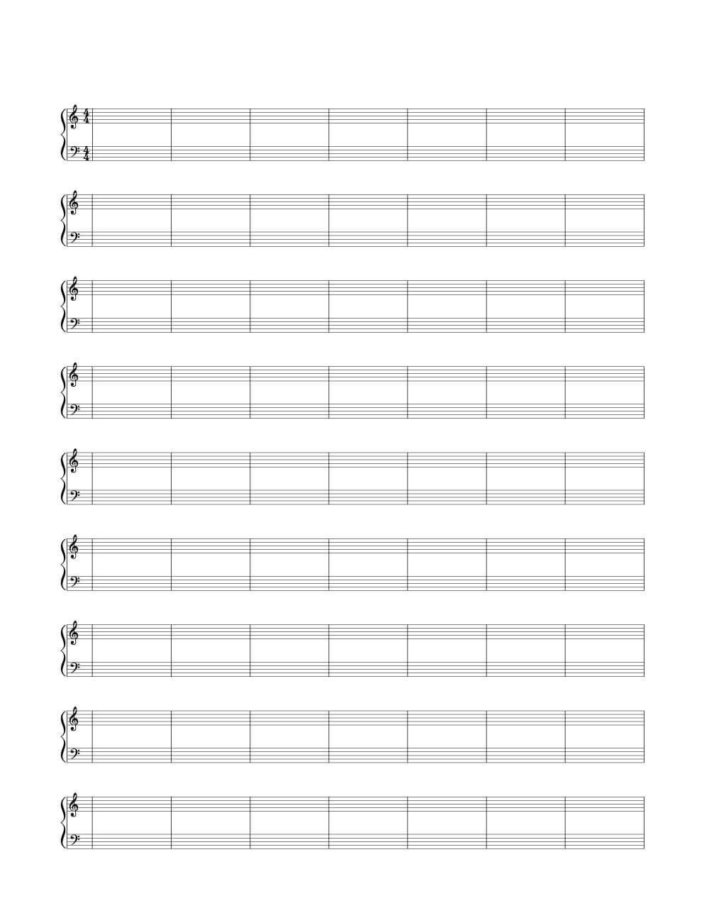 4/4 Time Signature Double Bar Blank Sheet Music | Woo! Jr With Regard To Blank Sheet Music Template For Word