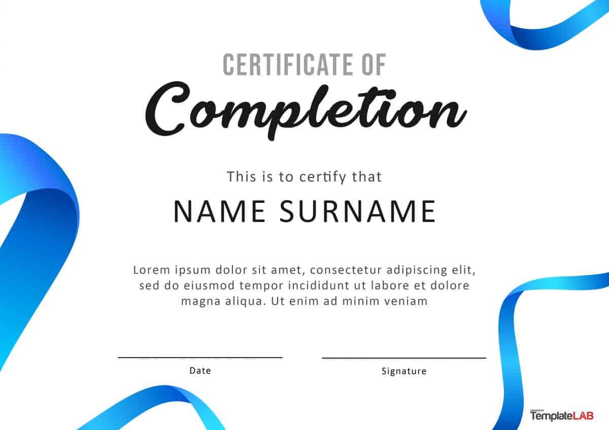 40 Fantastic Certificate Of Completion Templates [Word Pertaining To Attendance Certificate Template Word
