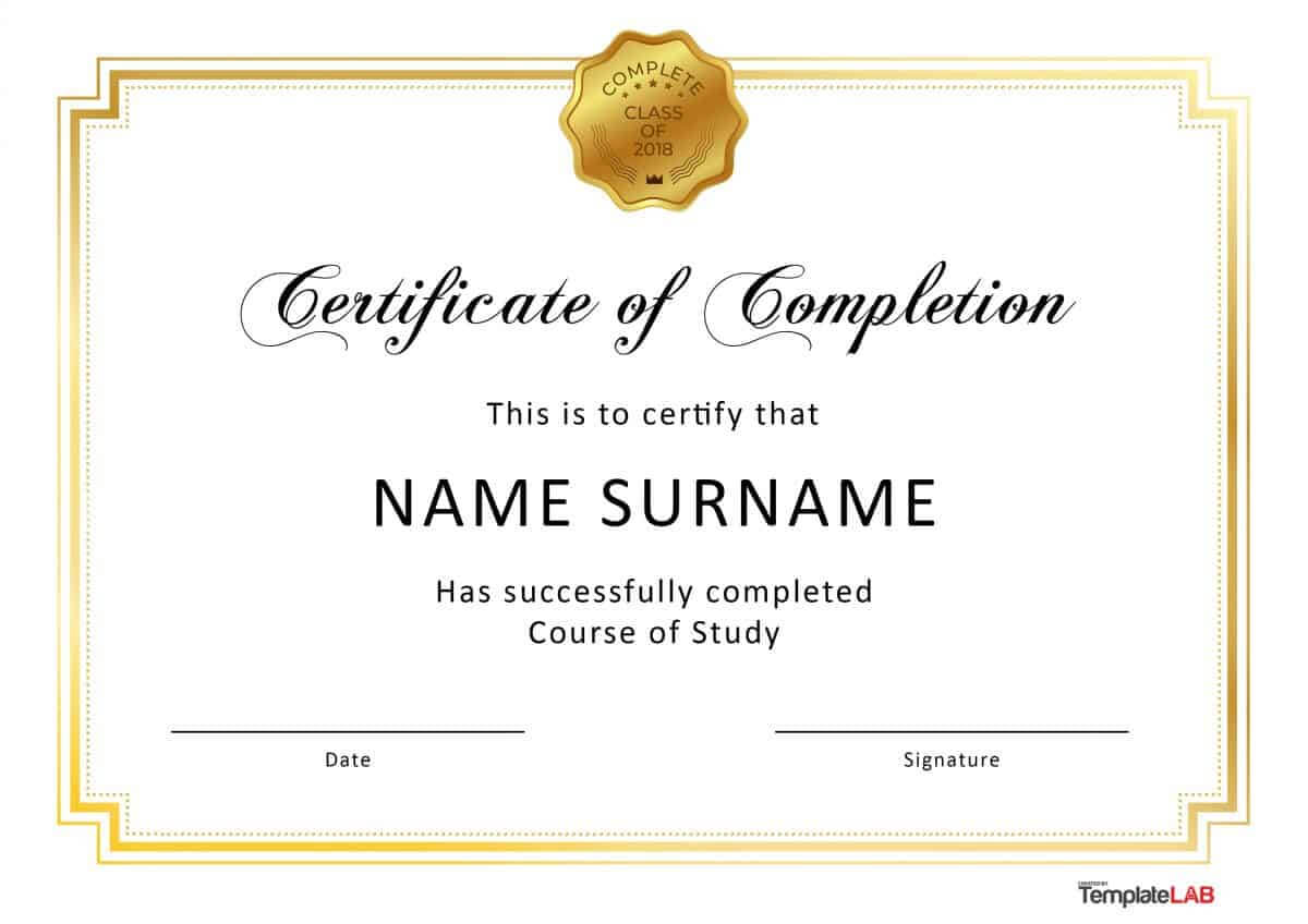 40 Fantastic Certificate Of Completion Templates [Word With Regard To Certificate Of Completion Free Template Word