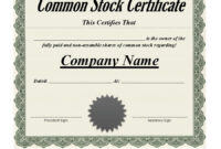 40+ Free Stock Certificate Templates (Word, Pdf) ᐅ Template Lab in Blank Share Certificate Template Free