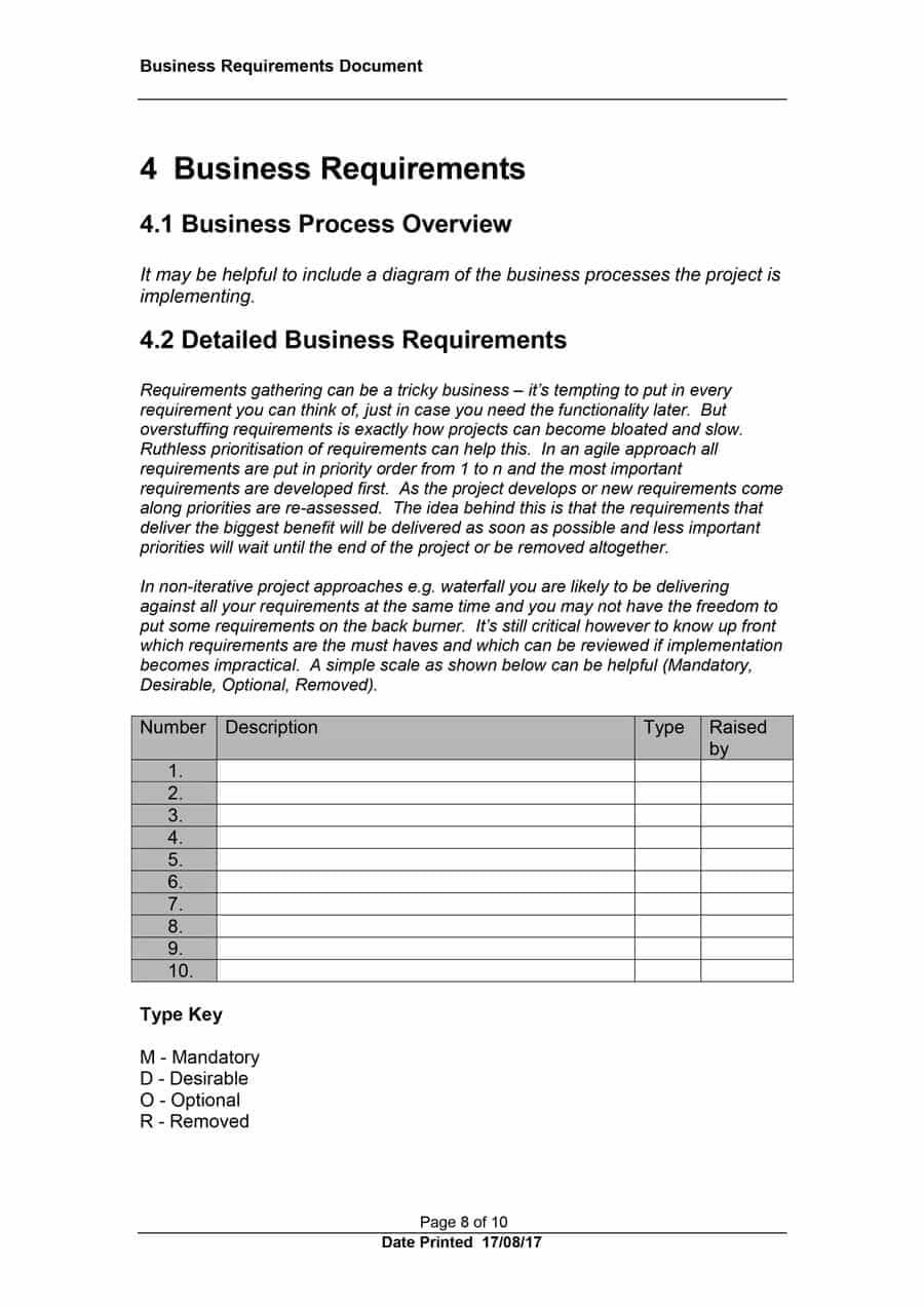 40+ Simple Business Requirements Document Templates ᐅ Pertaining To Business Requirements Document Template Word