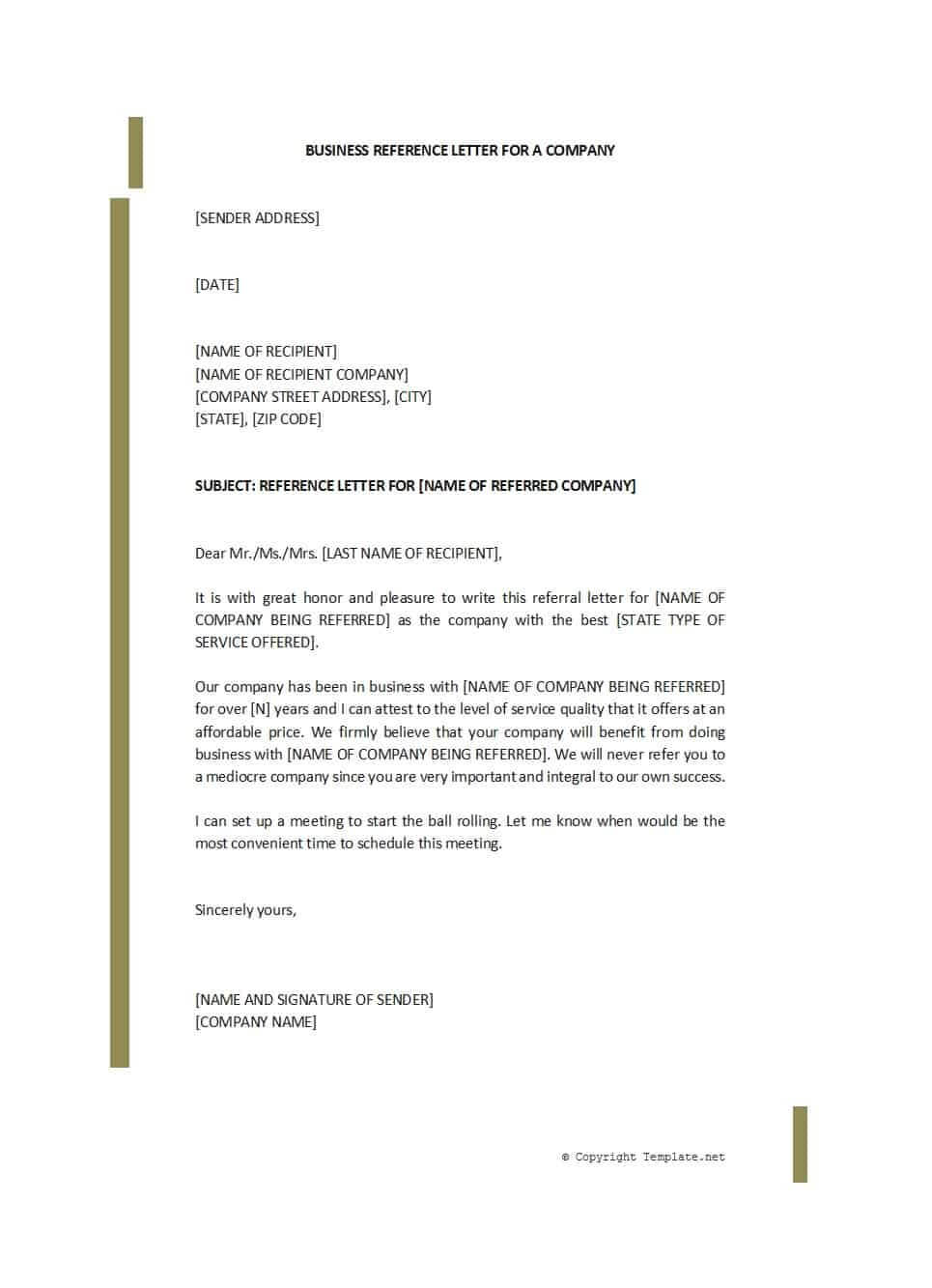 45 Awesome Business Reference Letters – Template Archive Pertaining To Business Reference Template Word