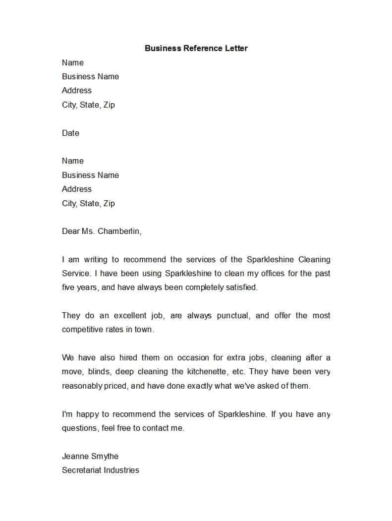 45 Awesome Business Reference Letters – Template Archive Within Business Reference Template Word