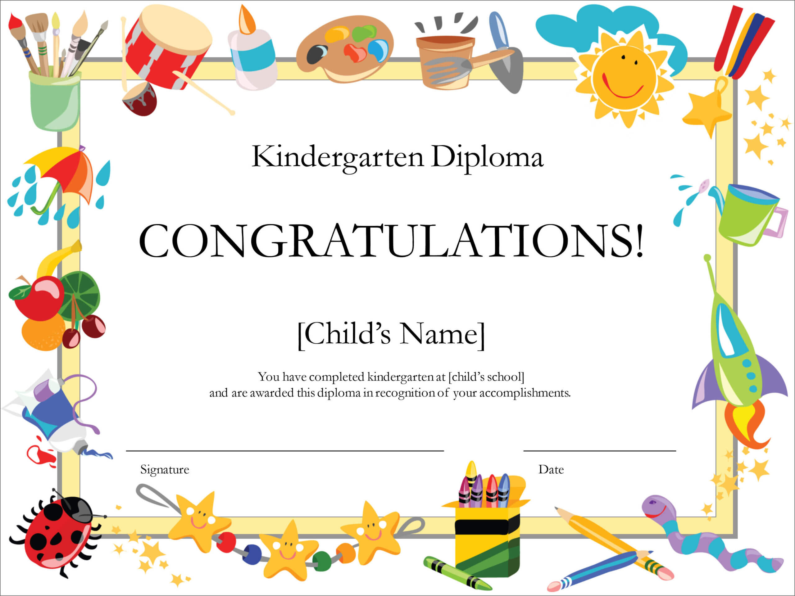 50 Free Creative Blank Certificate Templates In Psd Inside Children's Certificate Template