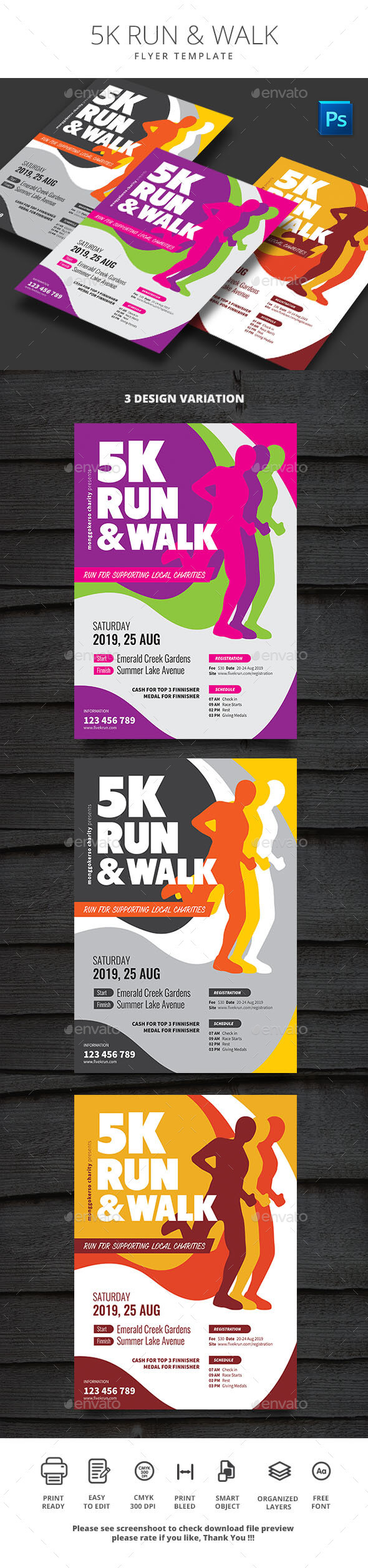 5K Run Graphics, Designs & Templates From Graphicriver With 5K Flyer Template