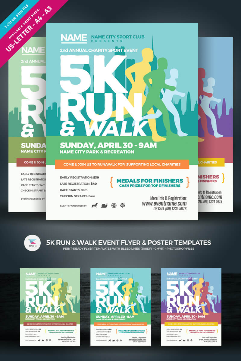 5K Run & Walk Event Flyer & Poster Corporate Identity Template Throughout 5K Flyer Template