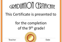 5Th Grade Graduation Certificate Template ] – Diplomas Free with 5Th Grade Graduation Certificate Template