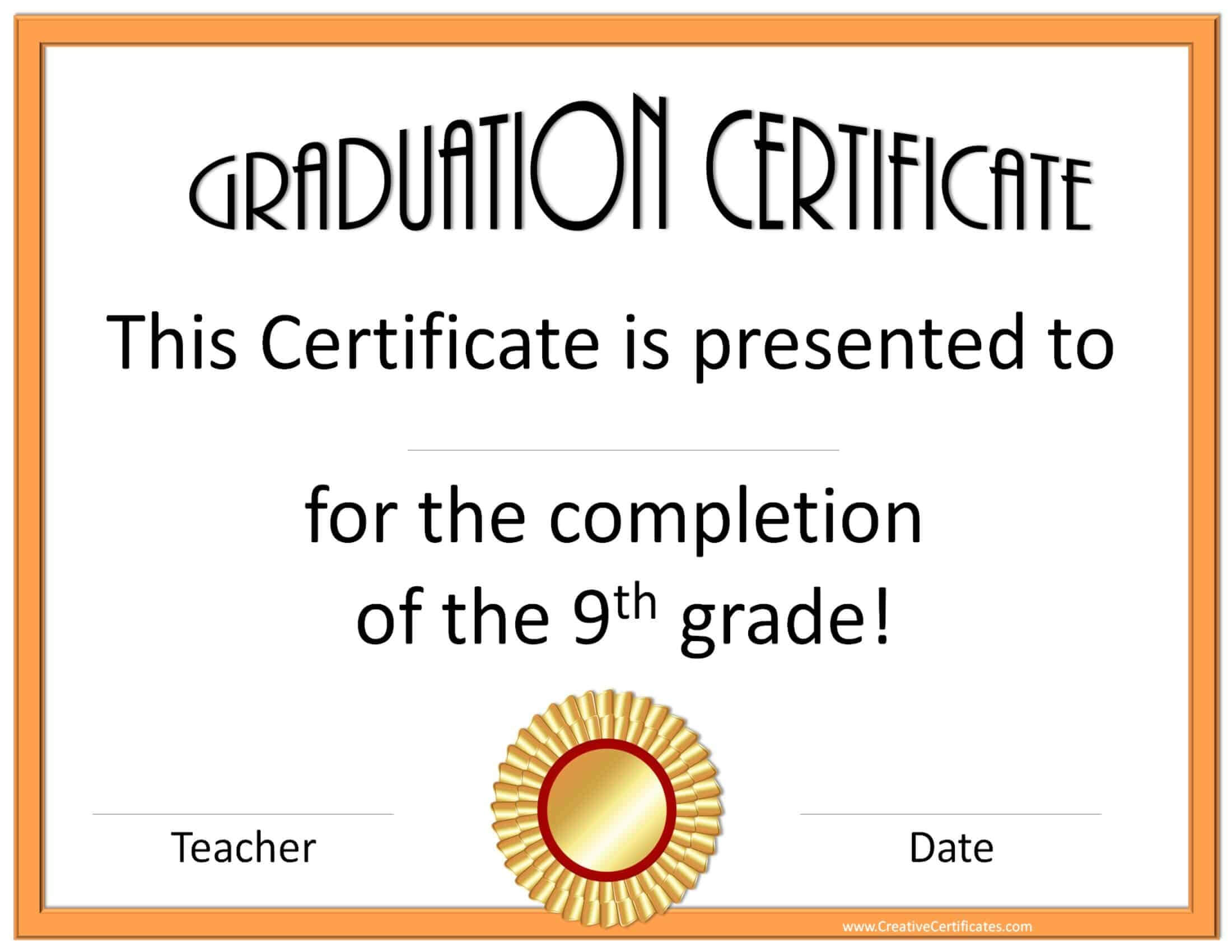5Th Grade Graduation Certificate Template ] - Diplomas Free With 5Th Grade Graduation Certificate Template