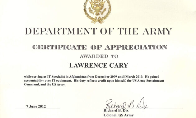 6+ Army Appreciation Certificate Templates - Pdf, Docx throughout Certificate Of Achievement Army Template