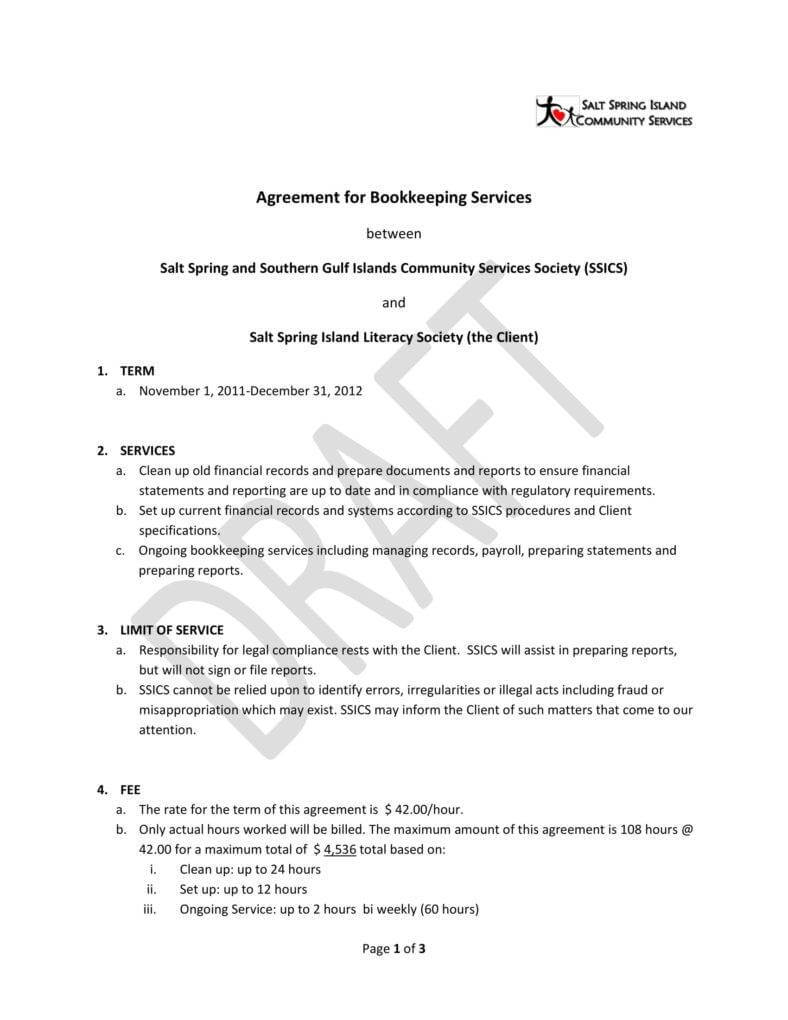 6+ Bookkeeping Contract Templates - Pdf, Word | Free Pertaining To Bookkeeping Letter Of Engagement Template