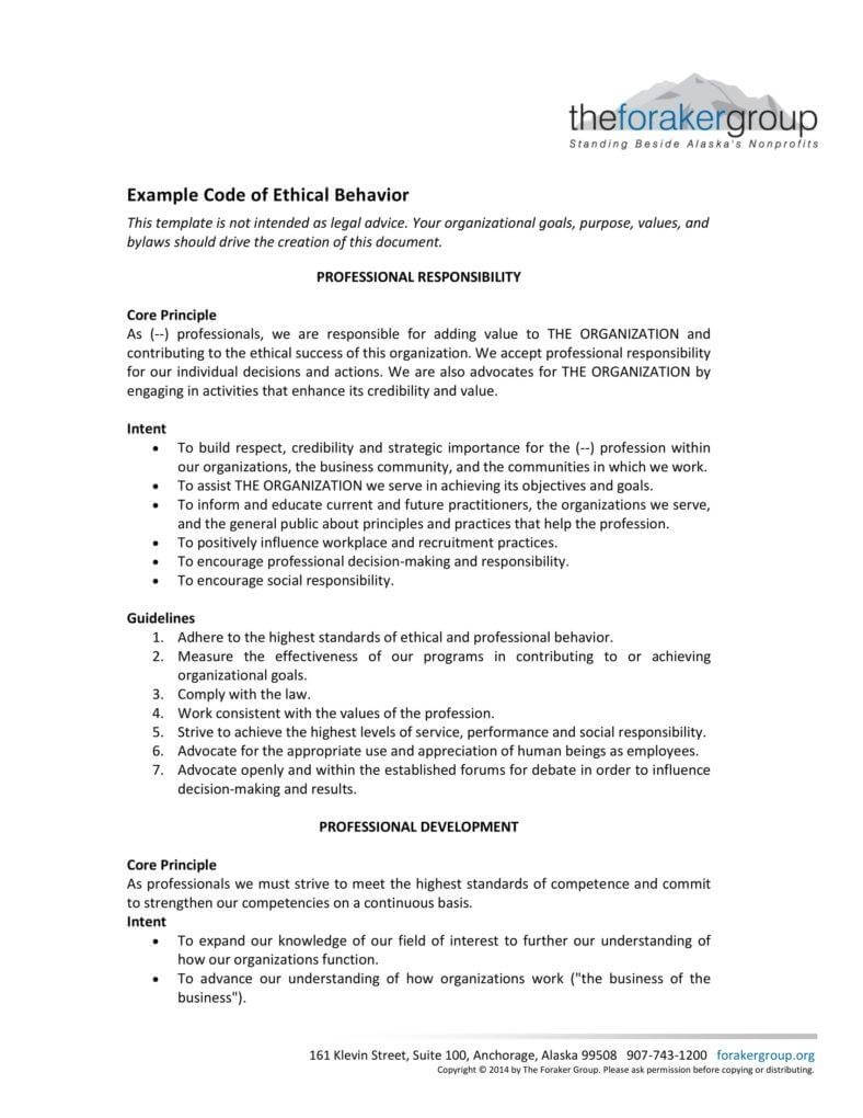 7+ Business Code Of Ethics Policy Templates | Free & Premium For Business Ethics Policy Template