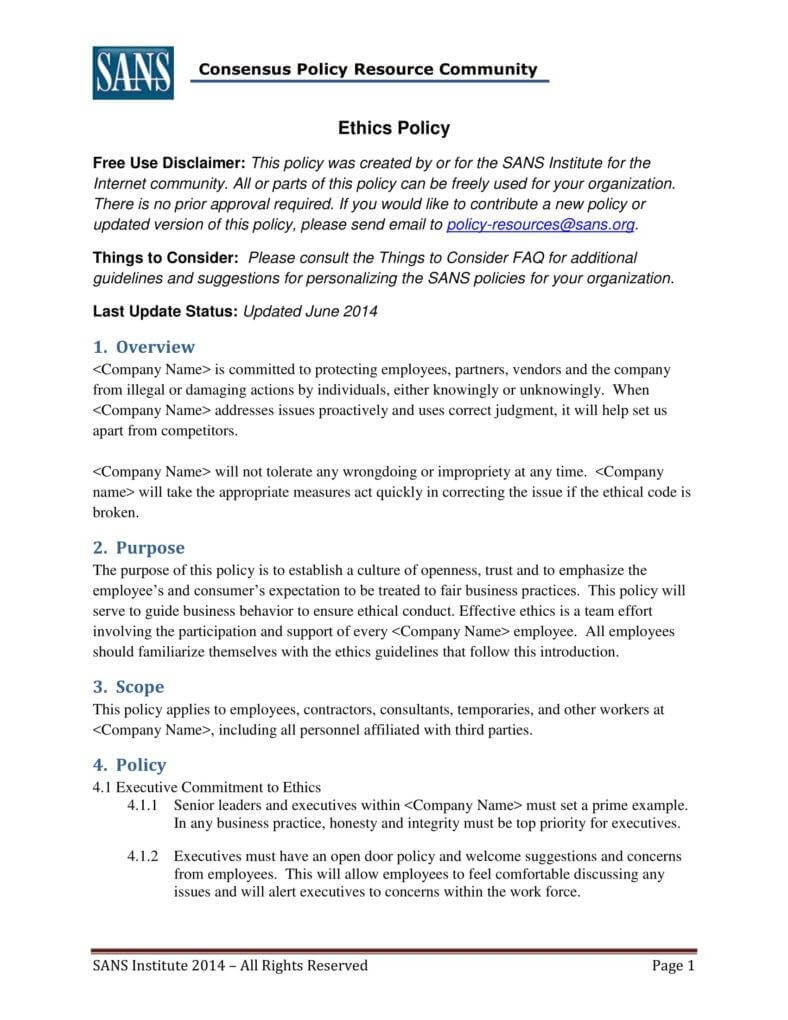 7+ Business Code Of Ethics Policy Templates | Free & Premium In Business Ethics Policy Template