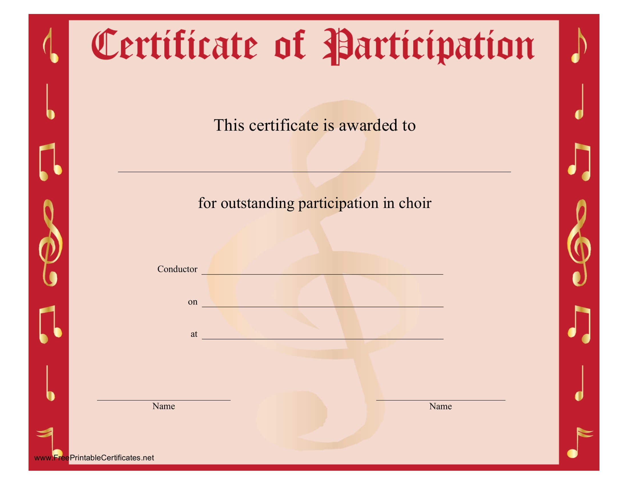 8+ Free Choir Certificate Of Participation Templates – Pdf In Certificate Of Participation Template Pdf