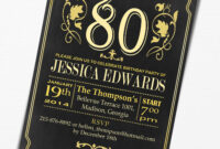 80Th Birthday Invitations : 80Th Birthday Invitations For with 80Th Birthday Invitation Templates