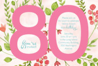 80Th Birthday Invitations : 80Th Birthday Invitations regarding 80Th Birthday Invitation Templates