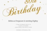 80Th Golden Flakes – Birthday Invitation Template (Free for 80Th Birthday Invitation Templates