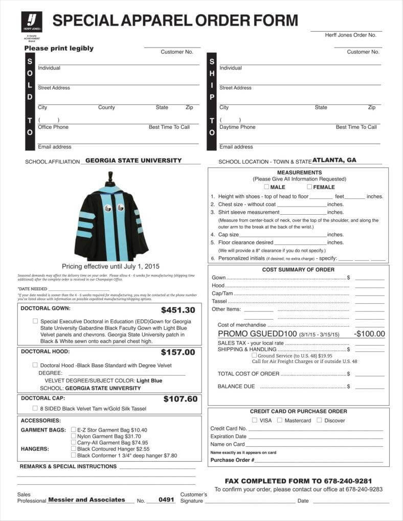 9+ Apparel Order Form Templates No.+ Free Word, Pdf, Excel Inside Apparel Order Form Template