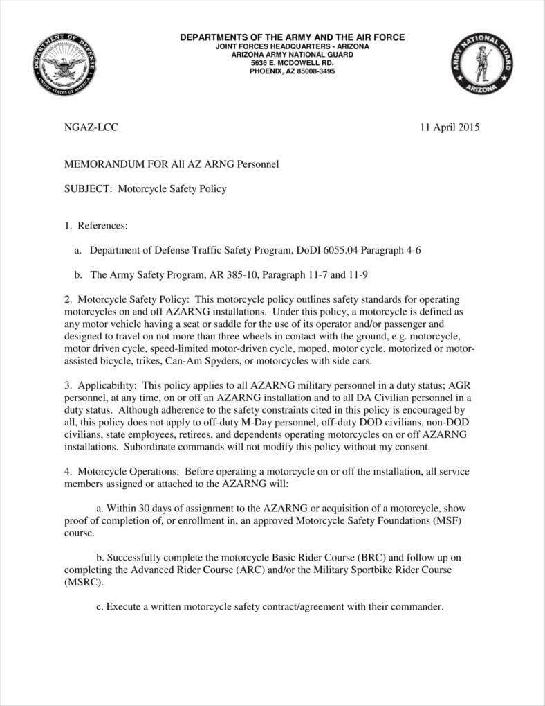 9+ Army Letterhead Templates | Free Samples, Examples In Army Memorandum Template Word