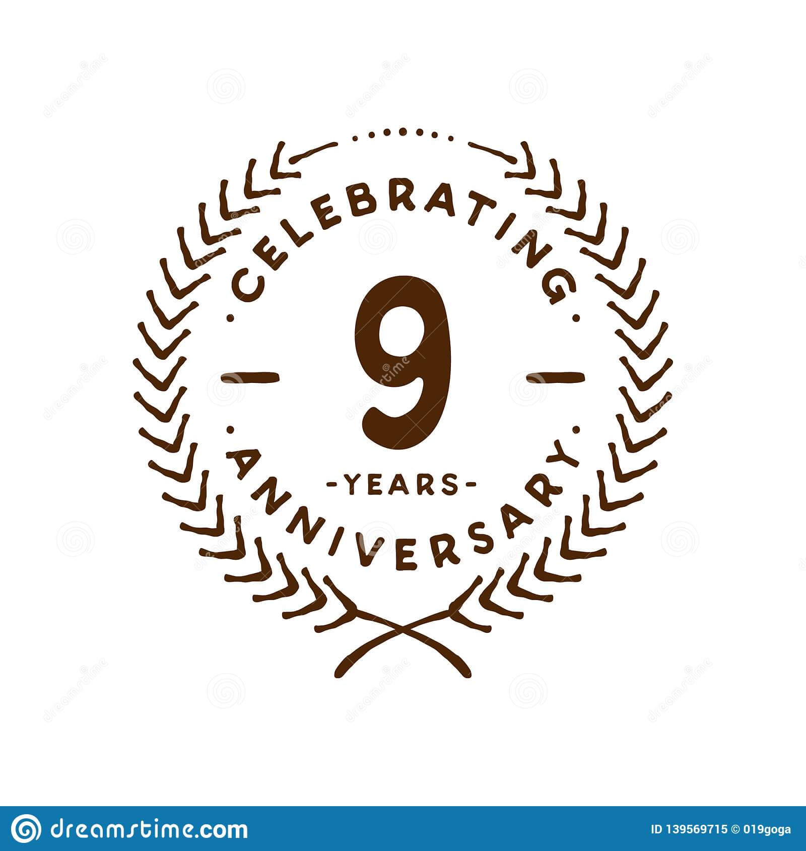 9 Years Design Template. 9Th Vector And Illustration Stock Within Anniversary Certificate Template Free