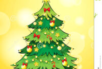 A Christmas Card Template With A Green Christmas Tree Stock intended for 3D Christmas Tree Card Template