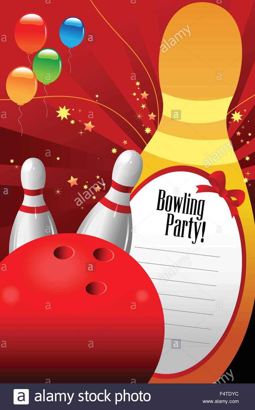 A Vector Illustration Of Bowling Party Invitation Template Throughout Bowling Party Flyer Template