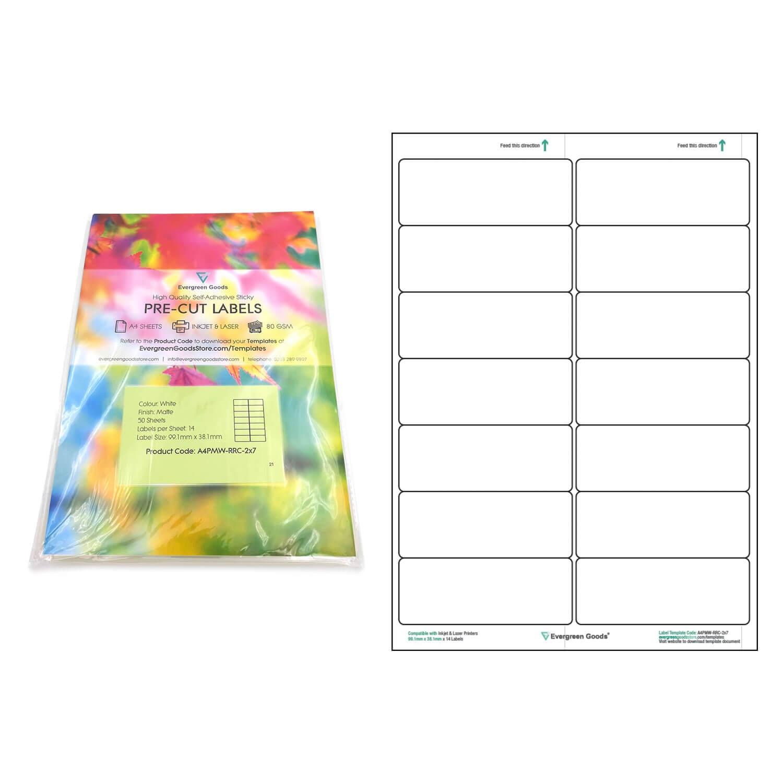 A4 Pre Cut Multi Matte White Paper Labels (2X7, 14 Labels Inside 3X8 Label Template