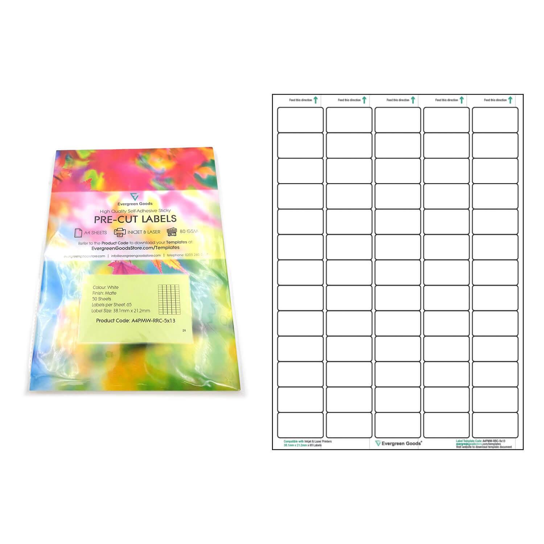 A4 Pre Cut Multi Matte White Paper Labels (5X13, 65 Labels For 3X8 Label Template