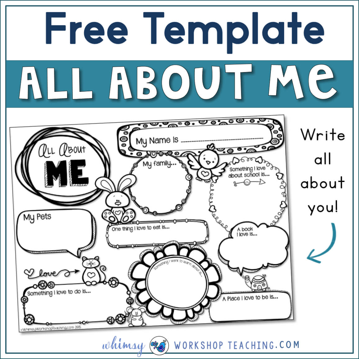 About Me Writing Template - Whimsy Workshop Teaching Throughout All About Me Book Template