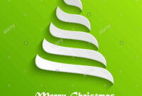 Abstract Modern 3D White Christmas Tree On Green Background with 3D Christmas Tree Card Template