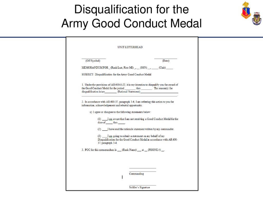 Administer Awards And Decorations – Ppt Download Regarding Army Good Conduct Medal Certificate Template