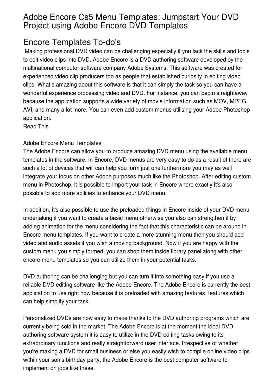 Adobe Encore Cs5 Menu Templates: Jumpstart Your Dvd Project Intended For Adobe Encore Menu Templates