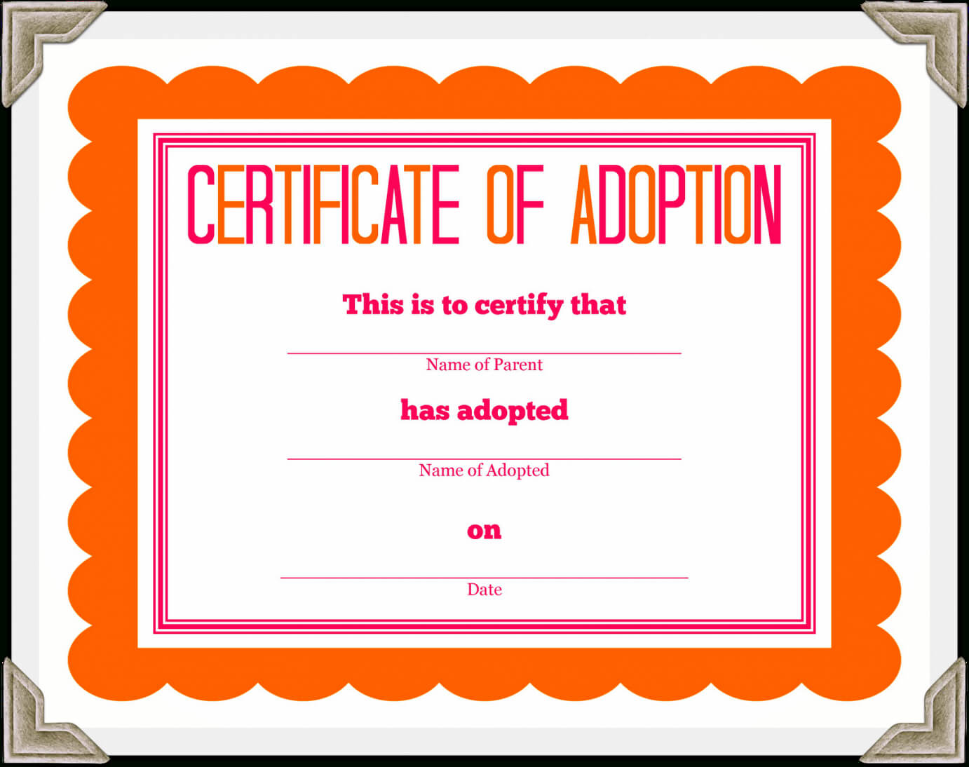 Adoption Certificate Template – Certificate Templates Throughout Adoption Certificate Template