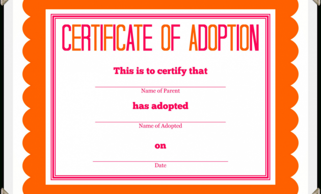 Adoption Certificate Template – Certificate Templates within Blank Adoption Certificate Template