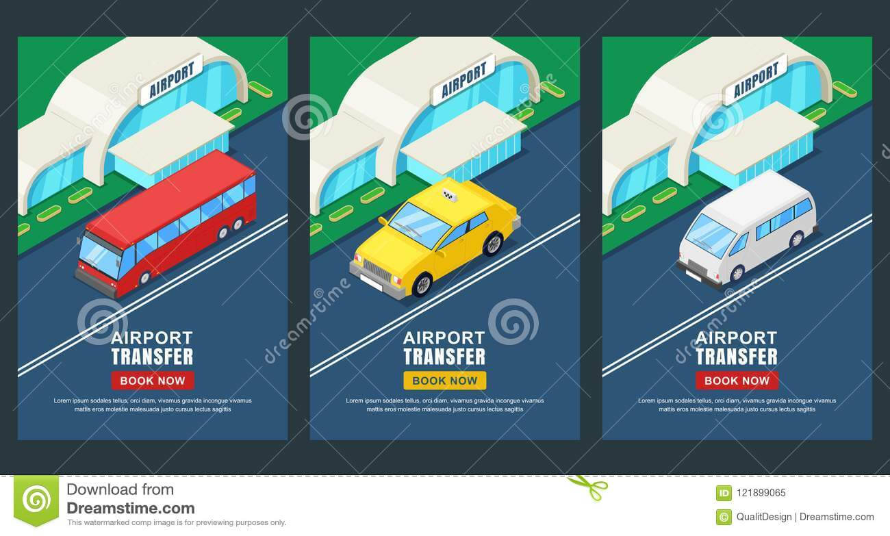 Airport Transfer, Vector Isometric 3D Illustration. Banner With Regard To Bus Trip Flyer Templates Free