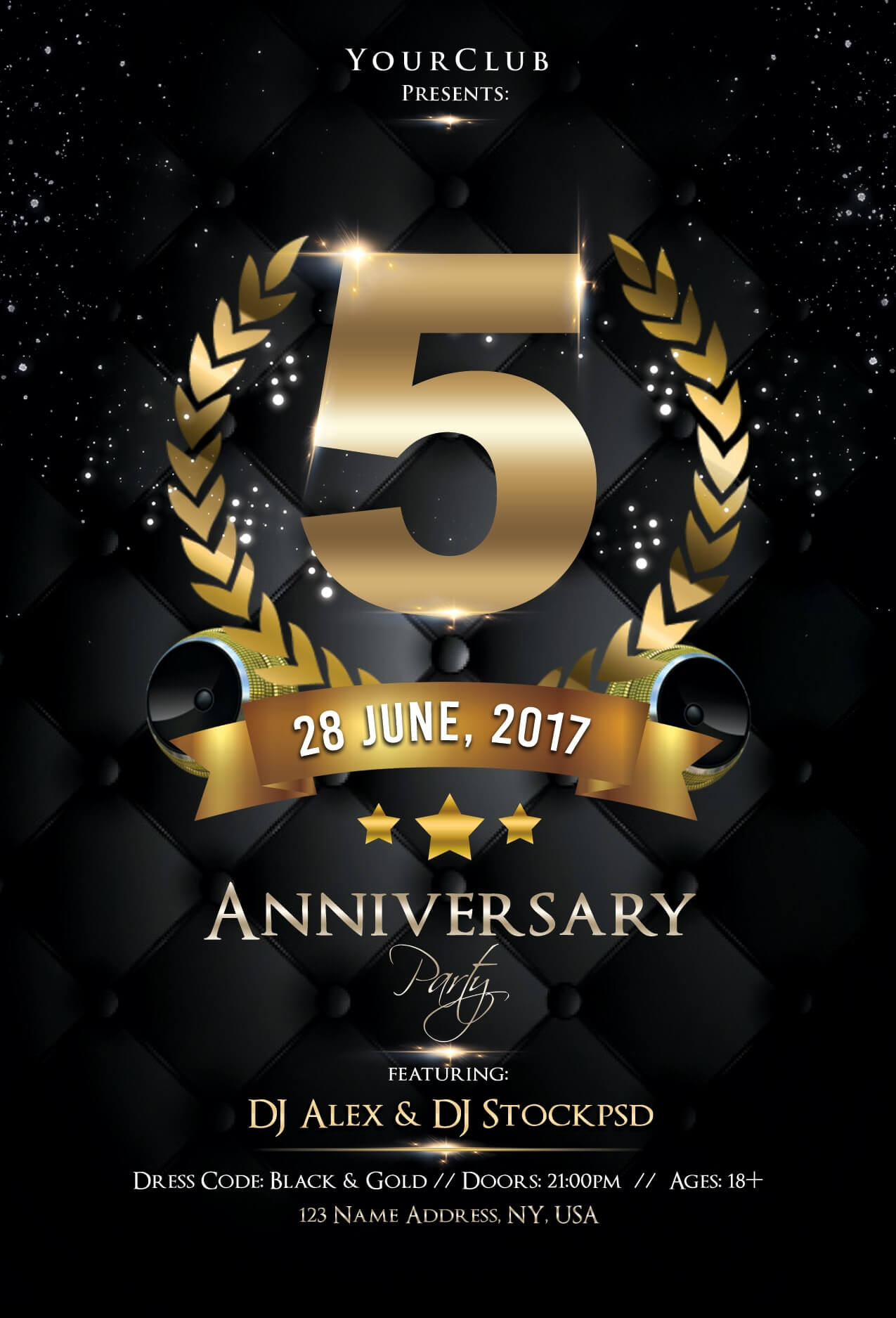Anniversary Night – Free Psd Flyer Template - Free Psd Flyer Regarding Anniversary Flyer Template Free