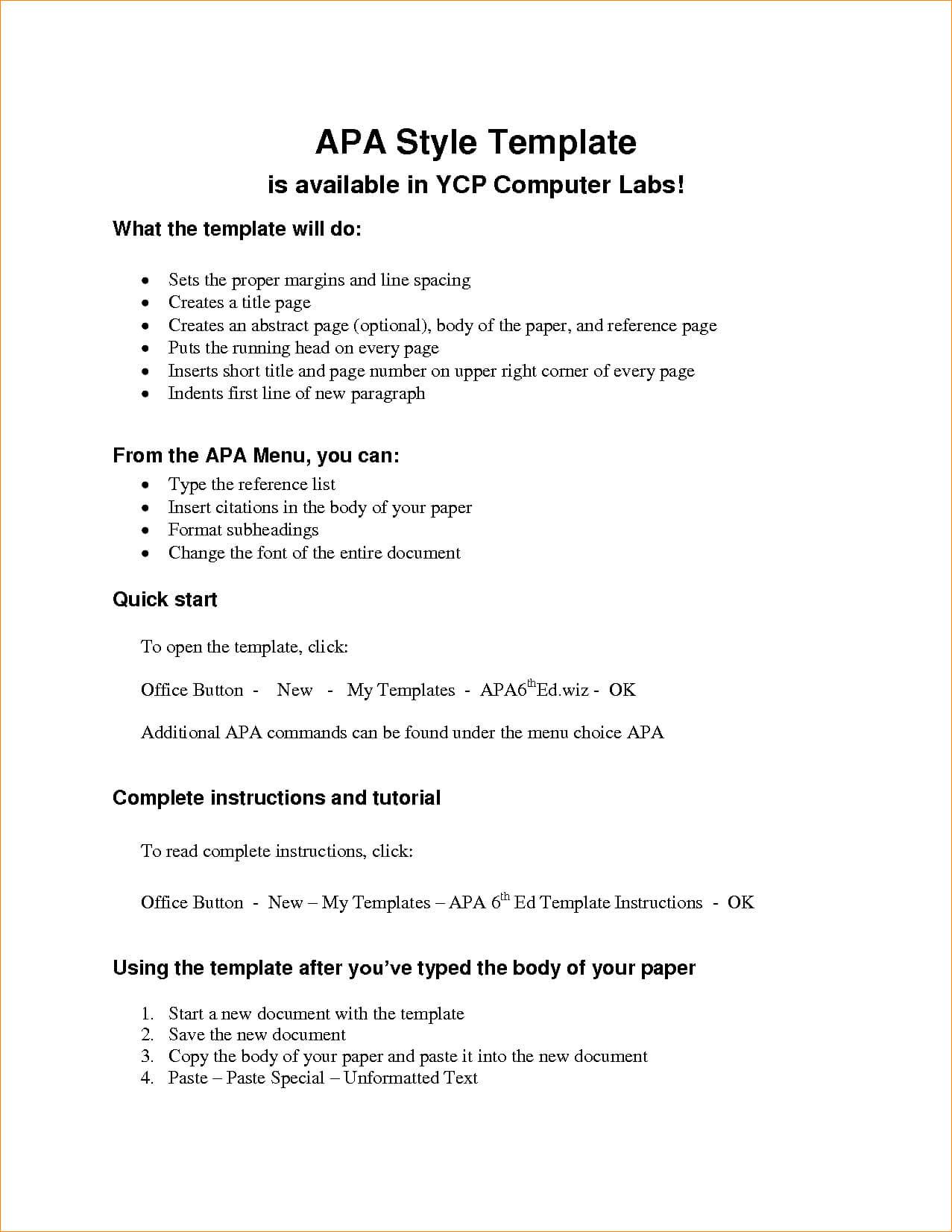 Apa Outline Format Microsoft Word - Colona.rsd7 Inside Apa Format Template Word 2013