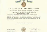 Army Achievement Medal Certificate Template ] – States Army for Army Certificate Of Achievement Template
