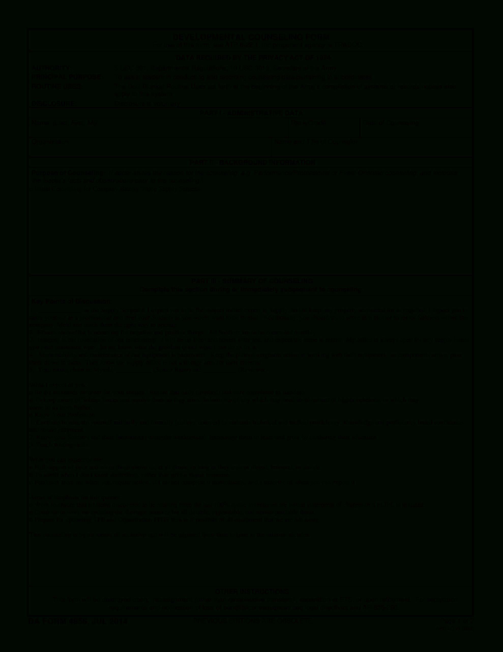 Army Developmental Counseling Form | Templates At With Army Leaders Book Template