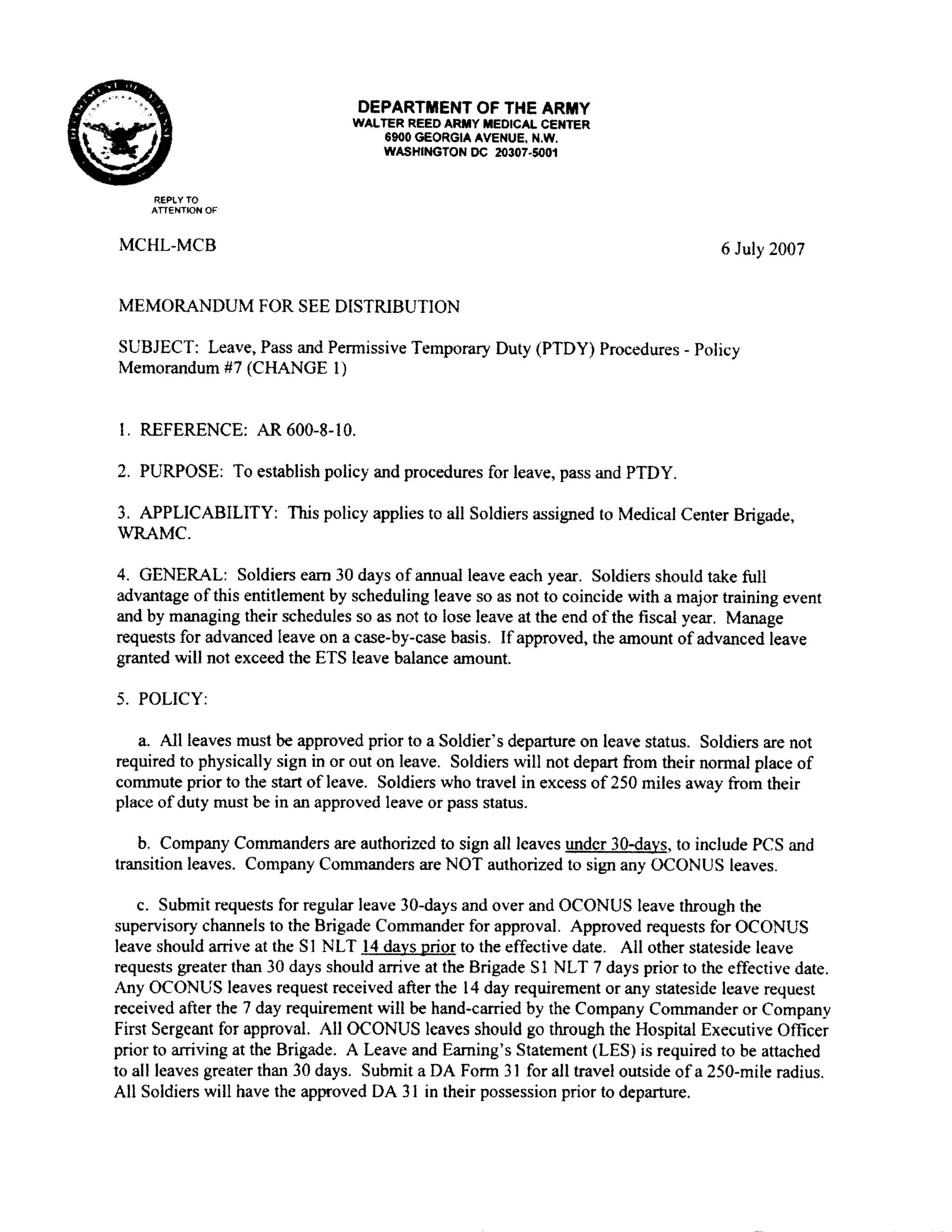 Army Memorandum For Leave   Templates At In Army Memorandum Template Word