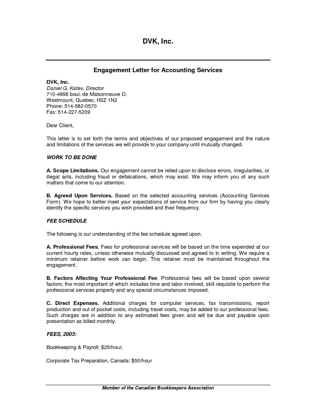 Audit Engagement Letter Sample. Is A Letter Of Engagement A Pertaining To Bookkeeping Letter Of Engagement Template