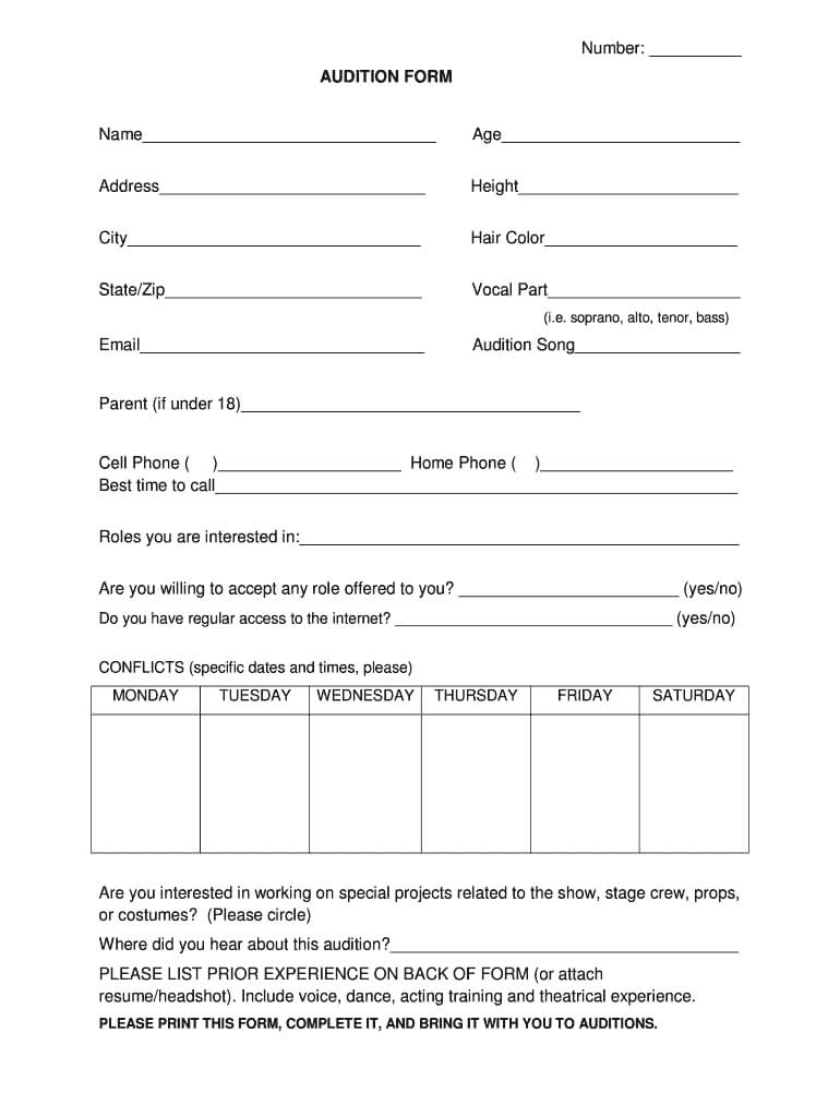 Audition Form Template - Fill Online, Printable, Fillable For Audition Form Template