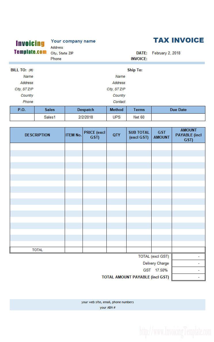 Australian Gst Invoice Template Inside Australian Invoice Template Word
