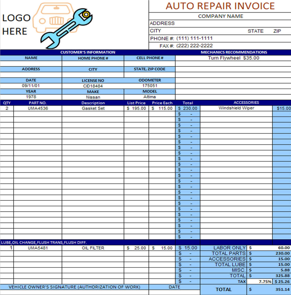 Auto Repair Invoice Template Excel | Invoice Example Pertaining To Car Service Invoice Template Free Download