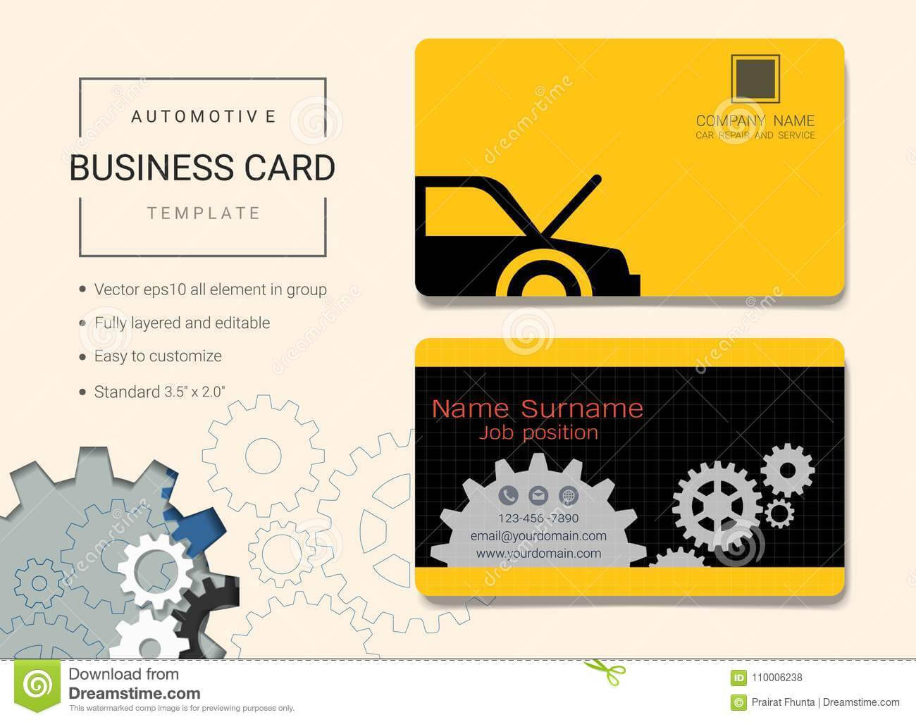 Automotive Business Card Or Name Card Template. Stock Vector Inside Automotive Business Card Templates